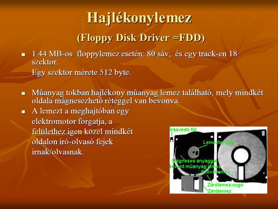 Hajlékonylemez (Floppy Disk Driver =FDD) 1.44 MB-os floppylemez esetén: 80 sáv, és egy track-en 18 szektor. 1.44 MB-os floppylemez esetén: 80 sáv, és