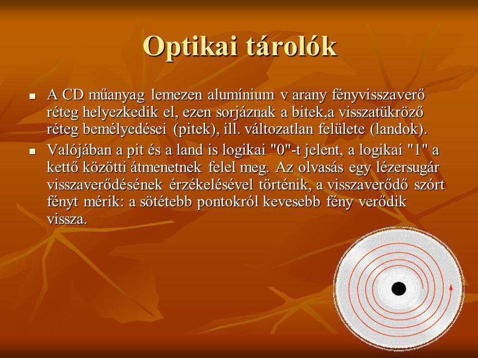 Optikai tárolók A CD műanyag lemezen alumínium v arany fényvisszaverő réteg helyezkedik el, ezen sorjáznak a bitek,a visszatükröző réteg bemélyedései