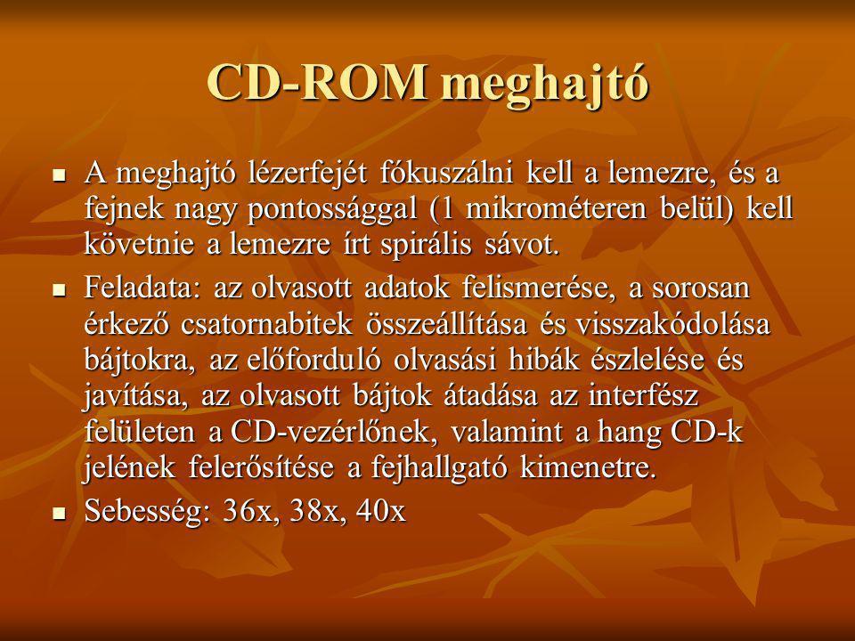 CD-ROM meghajtó A meghajtó lézerfejét fókuszálni kell a lemezre, és a fejnek nagy pontossággal (1 mikrométeren belül) kell követnie a lemezre írt spir