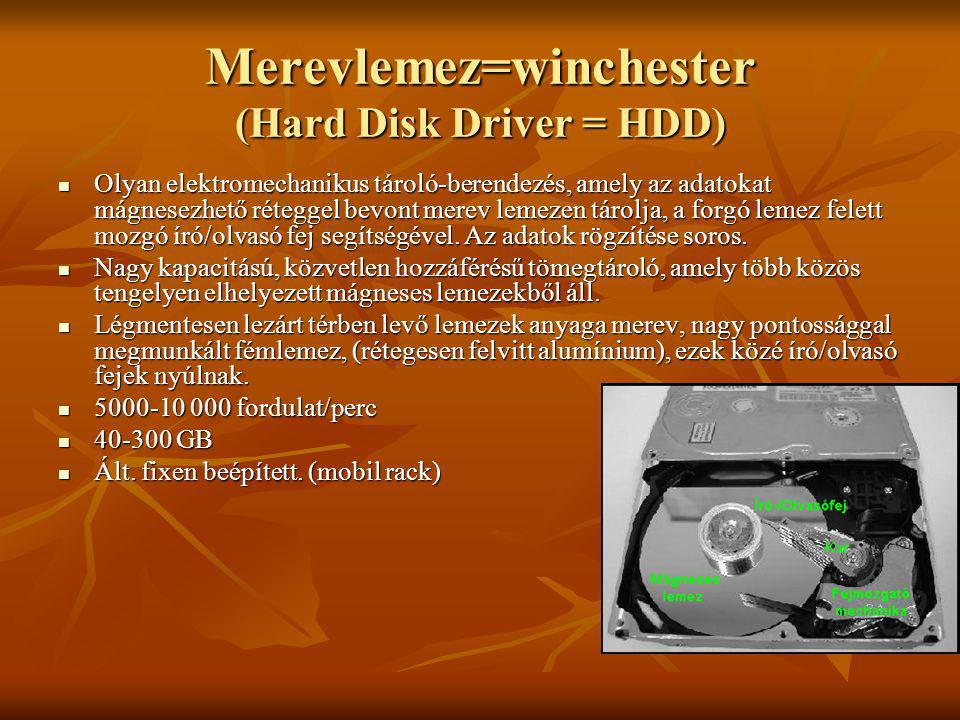 Merevlemez=winchester (Hard Disk Driver = HDD) Olyan elektromechanikus tároló-berendezés, amely az adatokat mágnesezhető réteggel bevont merev lemezen