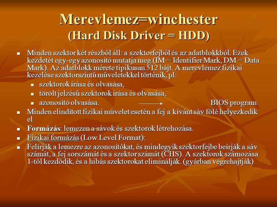 Merevlemez=winchester (Hard Disk Driver = HDD) A merevlemez logikai kezelése: Logikai formázás: kialakítja a lemezen az alkalmazni kívánt fájlrendszert.