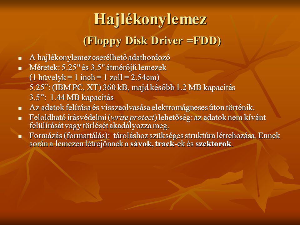 Hajlékonylemez (Floppy Disk Driver =FDD) A hajlékonylemez cserélhető adathordozó A hajlékonylemez cserélhető adathordozó Méretek: 5.25