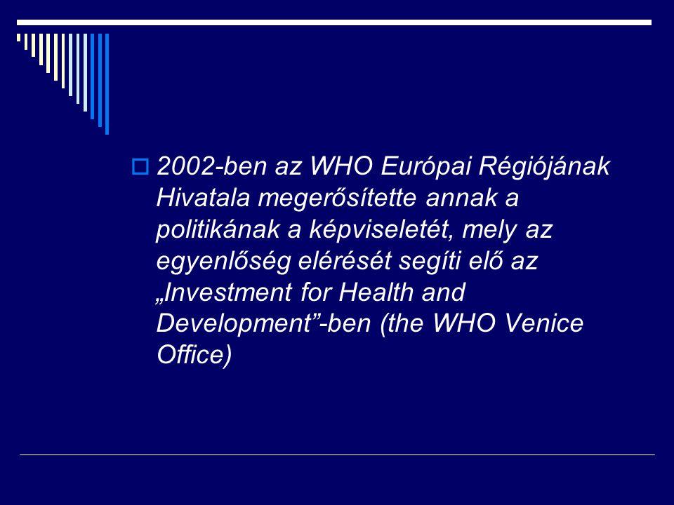 """ 2002-ben az WHO Európai Régiójának Hivatala megerősítette annak a politikának a képviseletét, mely az egyenlőség elérését segíti elő az """"Investment"""