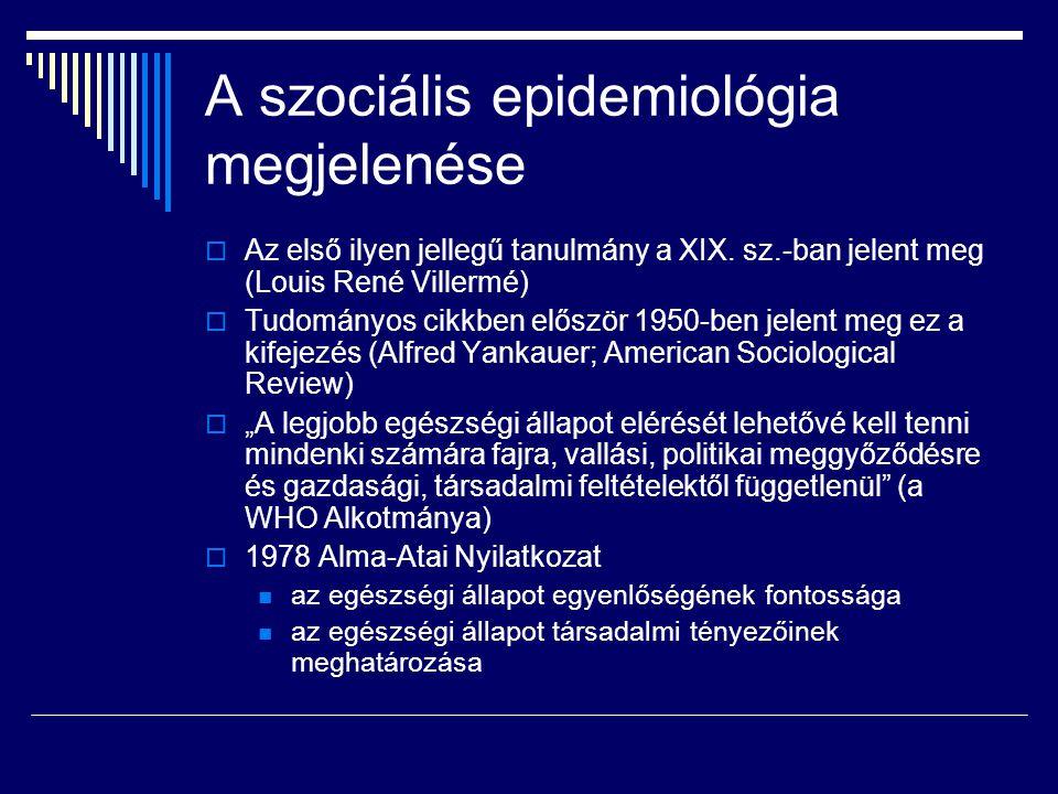A szociális epidemiológia megjelenése  Az első ilyen jellegű tanulmány a XIX. sz.-ban jelent meg (Louis René Villermé)  Tudományos cikkben először 1