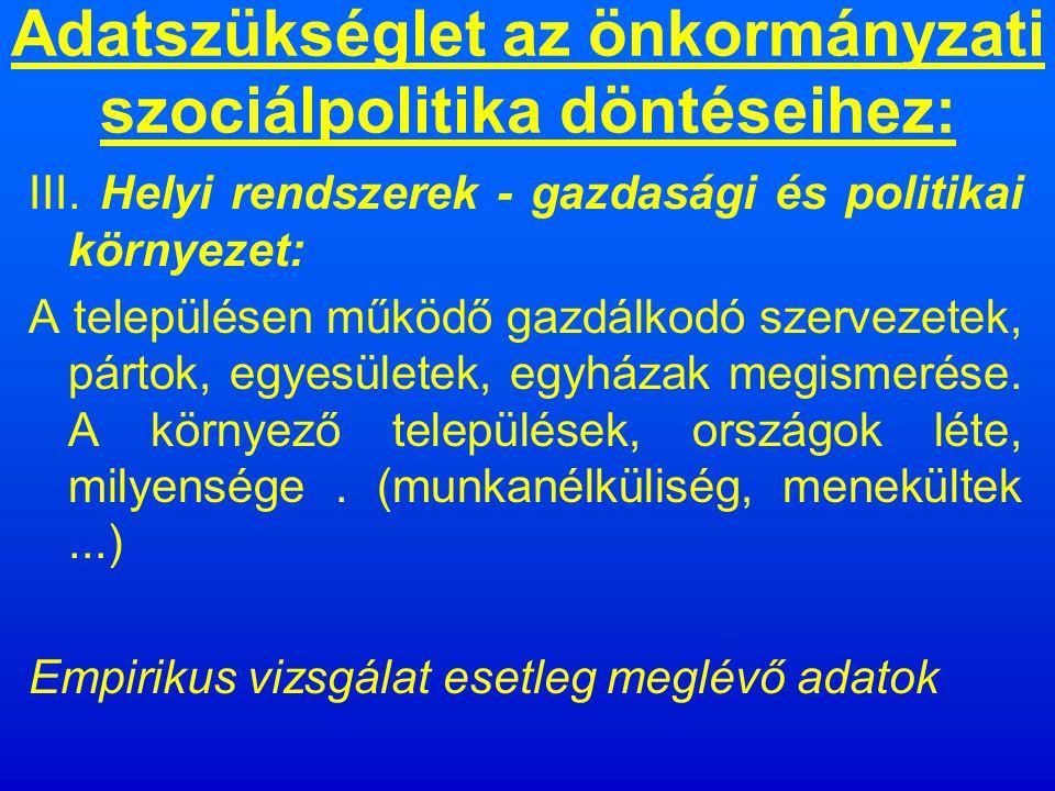Adatszükséglet az önkormányzati szociálpolitika döntéseihez: II.