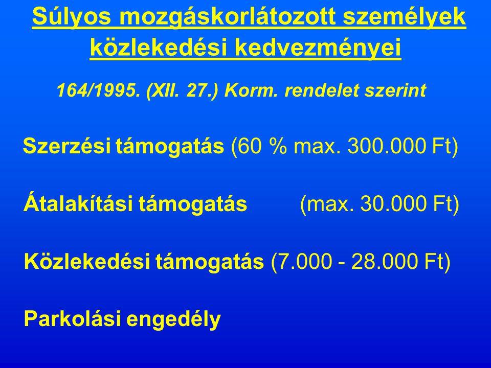 Családtámogatási ellátások 1998.évi LXXXIV. törvény szerint Családi pótlék: 1 gyermek - 11.