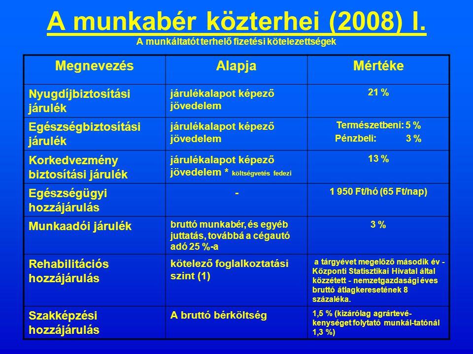 A munkabér közterhei (2007) I.