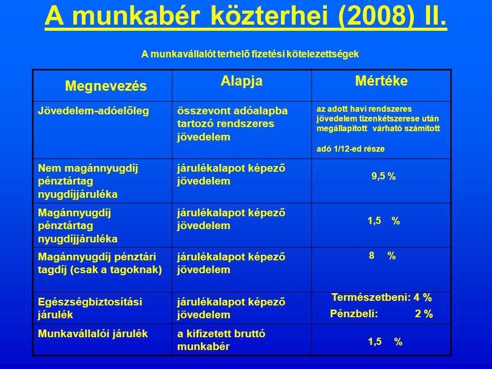 A munkabér közterhei (2007) II.