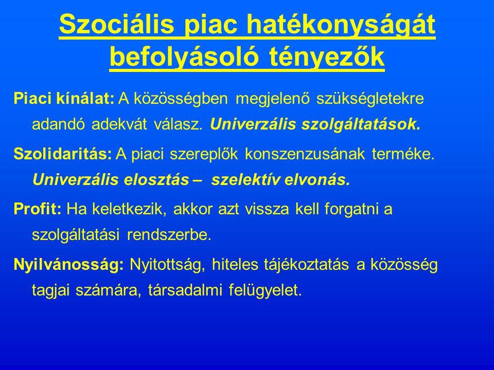 Szociális piac szereplői Az állam, amely a törvényeivel preferálja az egyes rétegek létét - jólétét, szociális jogait.