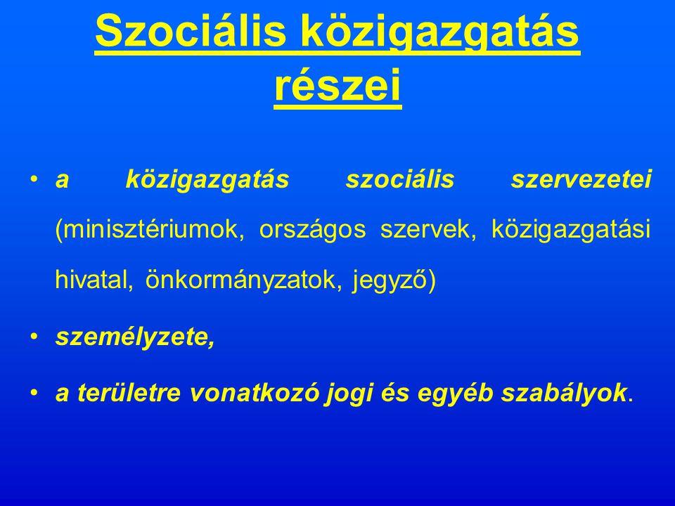 Szociális közigazgatás A közigazgatás történetileg kialakult ágazata, az állam (önkormányzat) azon tevékenységeinek összessége, amely az adott államhatalom szociálpolitikájának a végrehajtását a közigazgatás sajátos eszközeivel végzi.