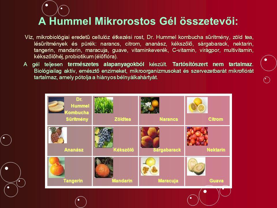 A Hummel Mikrorostos Gél összetevői: Víz, mikrobiológiai eredetű cellulóz étkezési rost, Dr. Hummel kombucha sűrítmény, zöld tea, lésűrítmények és pür