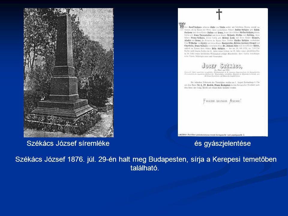 Székács József 1876.júl. 29-én halt meg Budapesten, sírja a Kerepesi temetőben található.