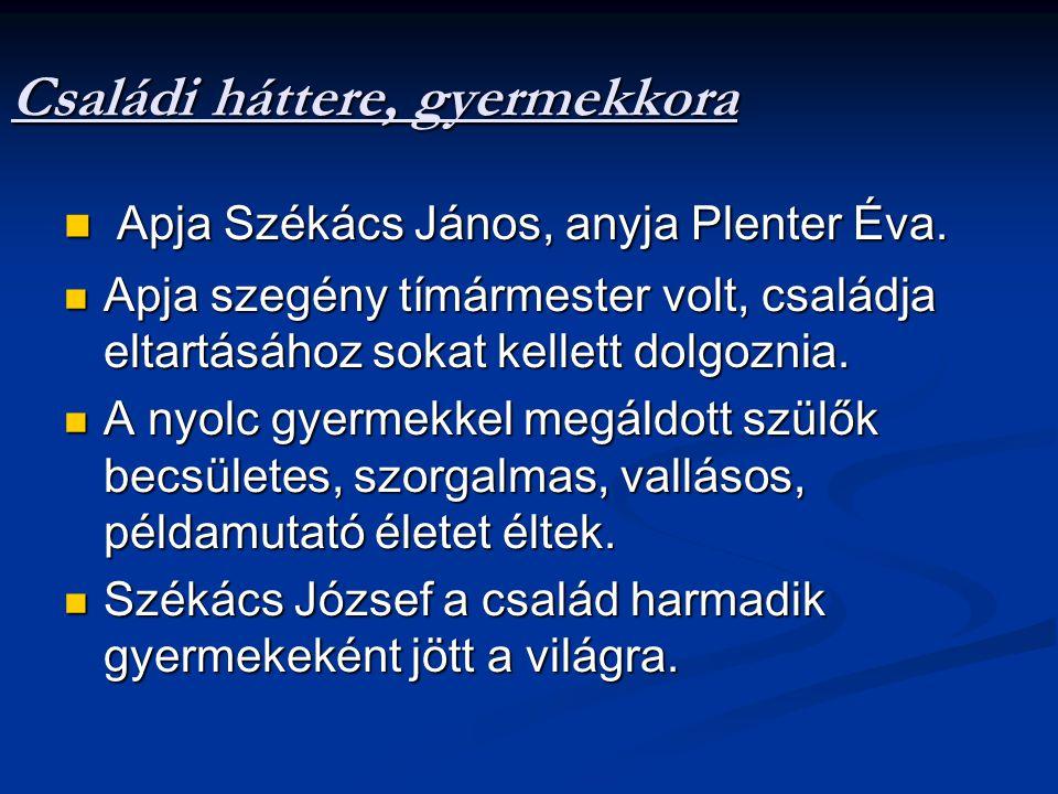 Családi háttere, gyermekkora Apja Székács János, anyja Plenter Éva.