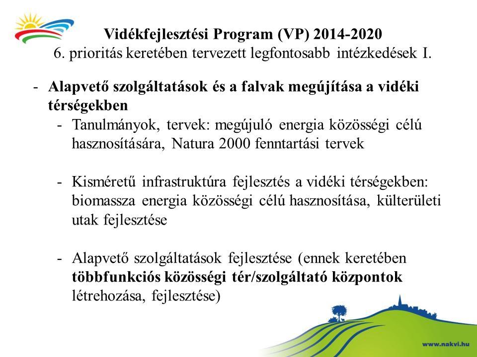 Vidékfejlesztési Program (VP) 2014-2020 6. prioritás keretében tervezett legfontosabb intézkedések I. -Alapvető szolgáltatások és a falvak megújítása