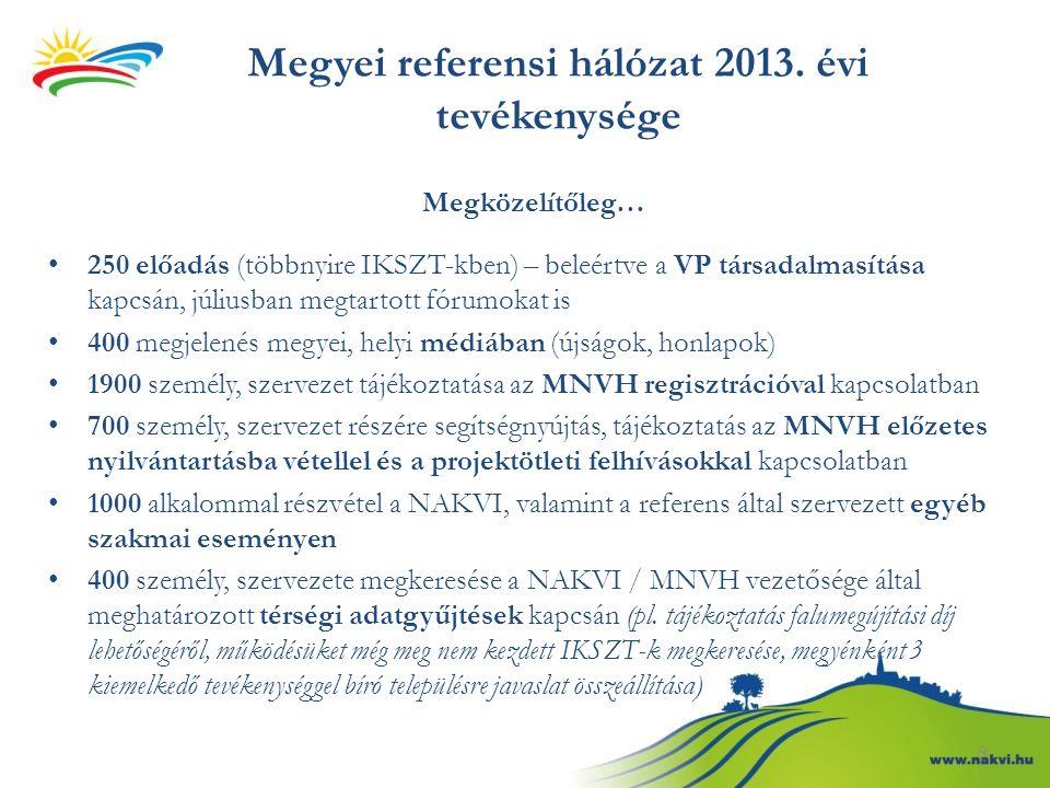 9 Megyei referensi hálózat 2013. évi tevékenysége Megközelítőleg… 250 előadás (többnyire IKSZT-kben) – beleértve a VP társadalmasítása kapcsán, július