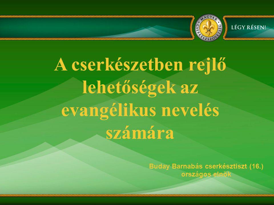 A cserkészetben rejlő lehetőségek az evangélikus nevelés számára Buday Barnabás cserkésztiszt (16.) országos elnök
