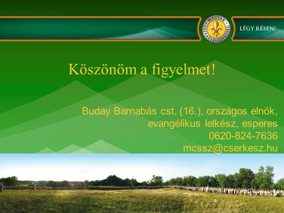 Köszönöm a figyelmet! Buday Barnabás cst. (16.), országos elnök, evangélikus lelkész, esperes 0620-824-7636 mcssz@cserkesz.hu