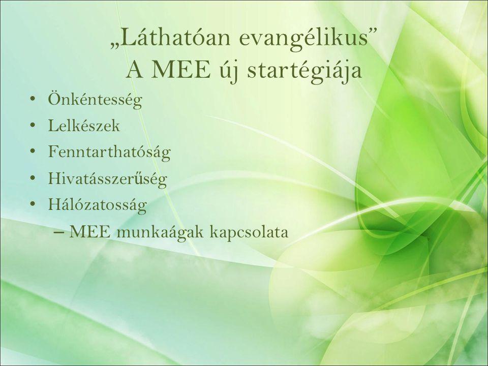"""""""Láthatóan evangélikus A MEE új startégiája Önkéntesség Lelkészek Fenntarthatóság Hivatásszer ű ség Hálózatosság – MEE munkaágak kapcsolata"""