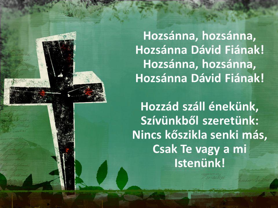 Hozsánna, hozsánna, Hozsánna Dávid Fiának! Hozsánna, hozsánna, Hozsánna Dávid Fiának! Hozzád száll énekünk, Szívünkből szeretünk: Nincs kőszikla senki