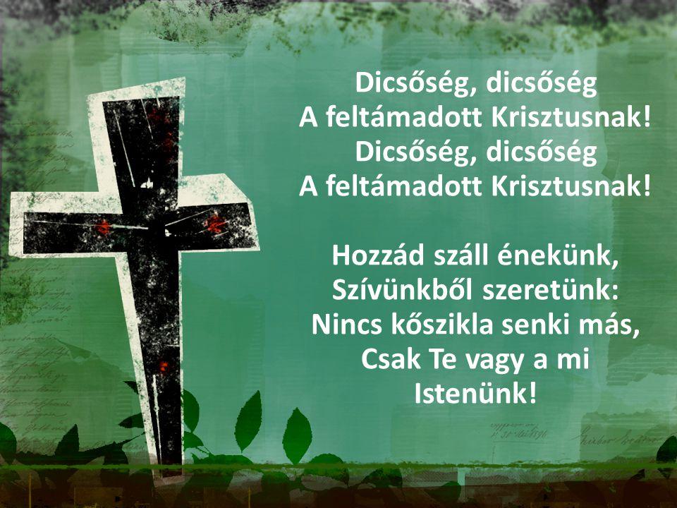 Dicsőség, dicsőség A feltámadott Krisztusnak! Dicsőség, dicsőség A feltámadott Krisztusnak! Hozzád száll énekünk, Szívünkből szeretünk: Nincs kőszikla