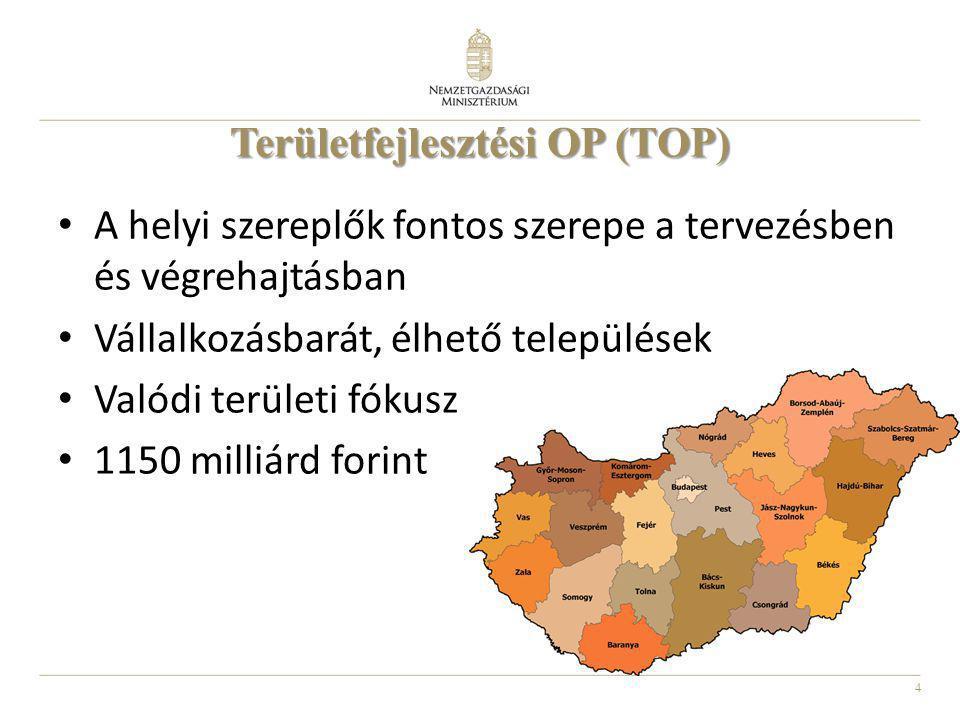 4 Területfejlesztési OP (TOP) A helyi szereplők fontos szerepe a tervezésben és végrehajtásban Vállalkozásbarát, élhető települések Valódi területi fó