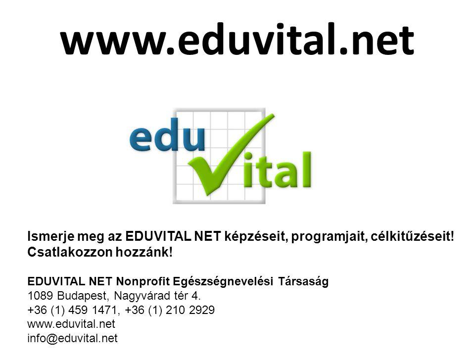 www.eduvital.net Ismerje meg az EDUVITAL NET képzéseit, programjait, célkitűzéseit! Csatlakozzon hozzánk! EDUVITAL NET Nonprofit Egészségnevelési Társ