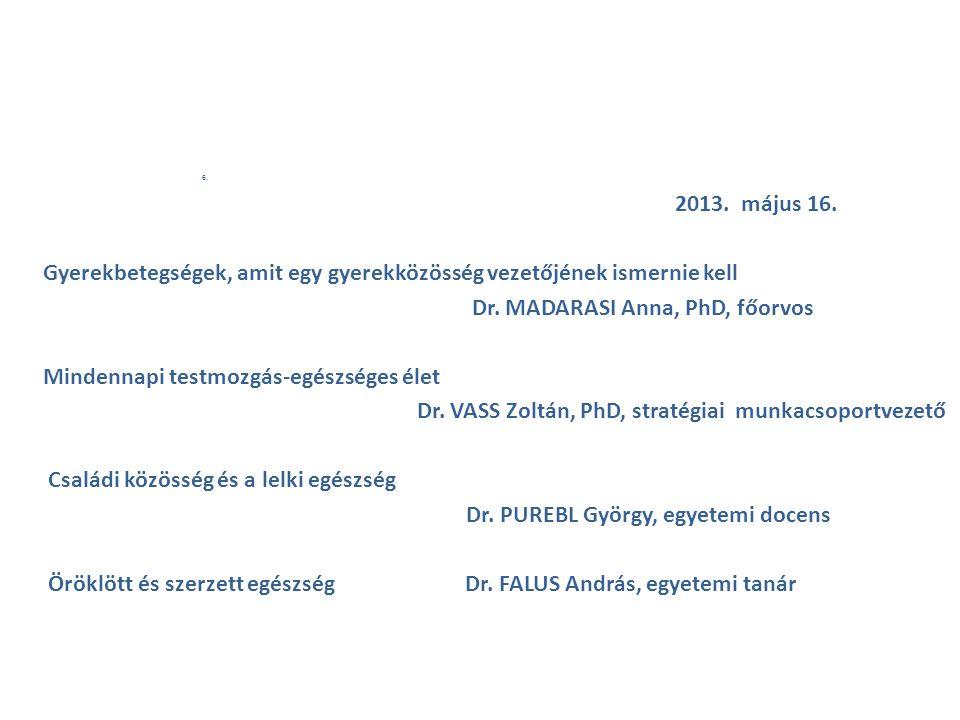 6. 2013. május 16. Gyerekbetegségek, amit egy gyerekközösség vezetőjének ismernie kell Dr. MADARASI Anna, PhD, főorvos Mindennapi testmozgás-egészsége