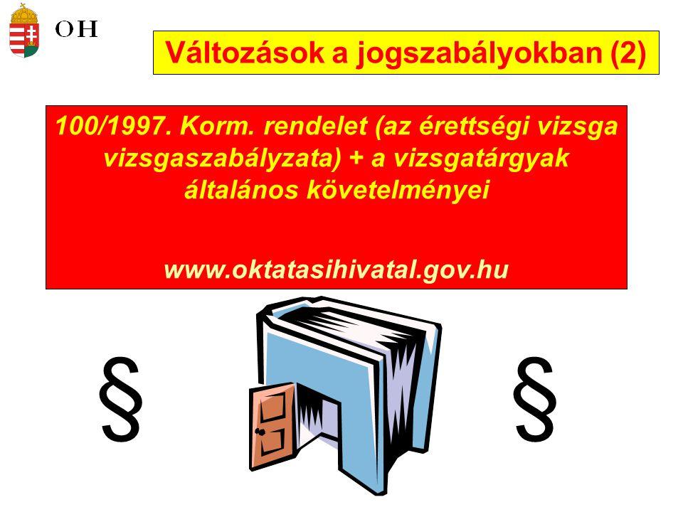 Változások a jogszabályokban (2) §§ 100/1997.Korm.