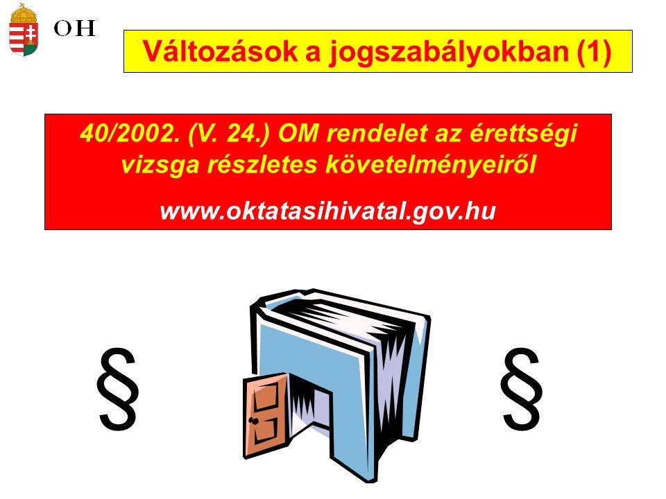 Változások a jogszabályokban (1) 40/2002.(V.