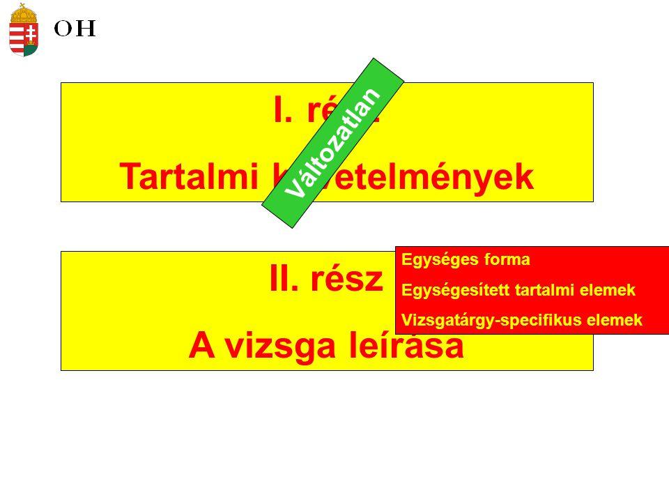 I.rész Tartalmi követelmények II.