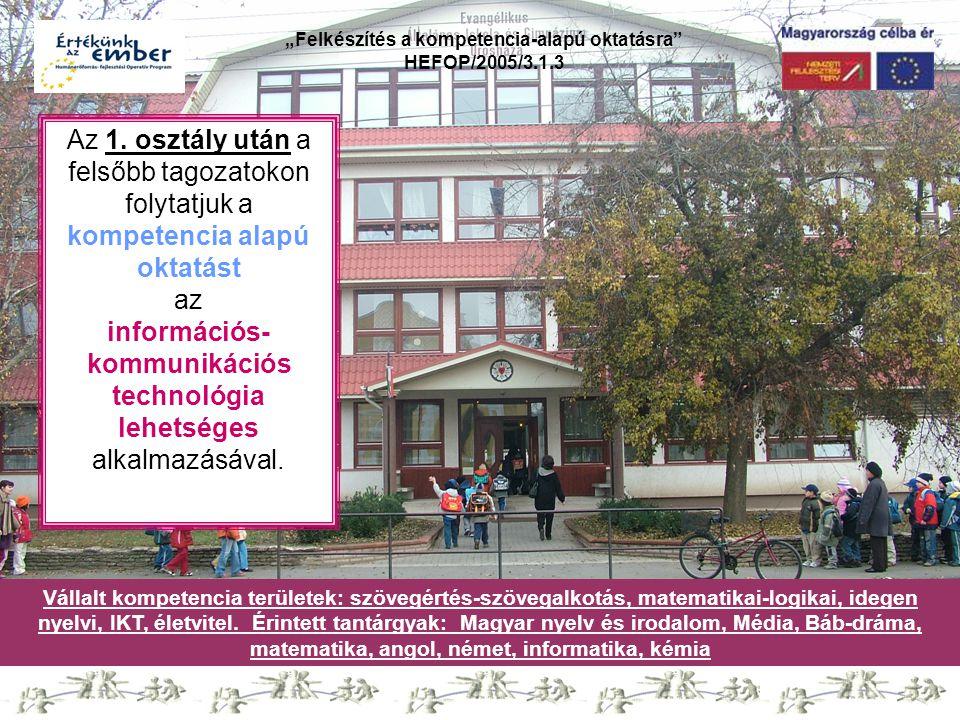 """""""Felkészítés a kompetencia-alapú oktatásra HEFOP/2005/3.1.3 Vállalt kompetencia területek: szövegértés-szövegalkotás, matematikai-logikai, idegen nyelvi, IKT, életvitel."""