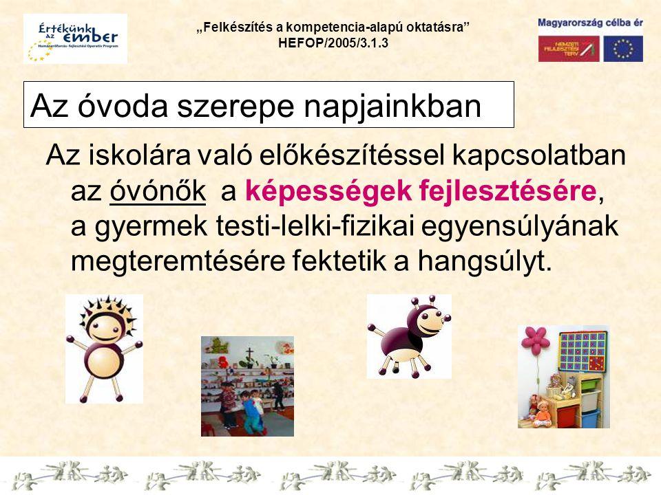 """""""Felkészítés a kompetencia-alapú oktatásra"""" HEFOP/2005/3.1.3 Az óvoda szerepe napjainkban Az iskolára való előkészítéssel kapcsolatban az óvónők a kép"""