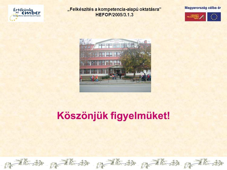 """""""Felkészítés a kompetencia-alapú oktatásra"""" HEFOP/2005/3.1.3 Köszönjük figyelmüket!"""