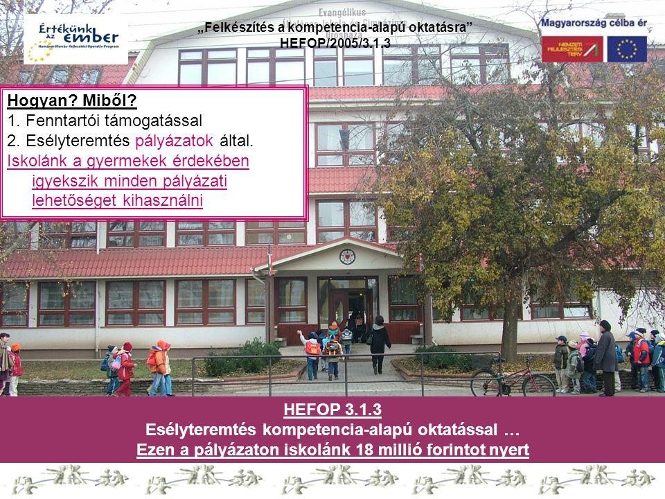 """""""Felkészítés a kompetencia-alapú oktatásra"""" HEFOP/2005/3.1.3 Hogyan? Miből? 1. Fenntartói támogatással 2. Esélyteremtés pályázatok által. Iskolánk a g"""