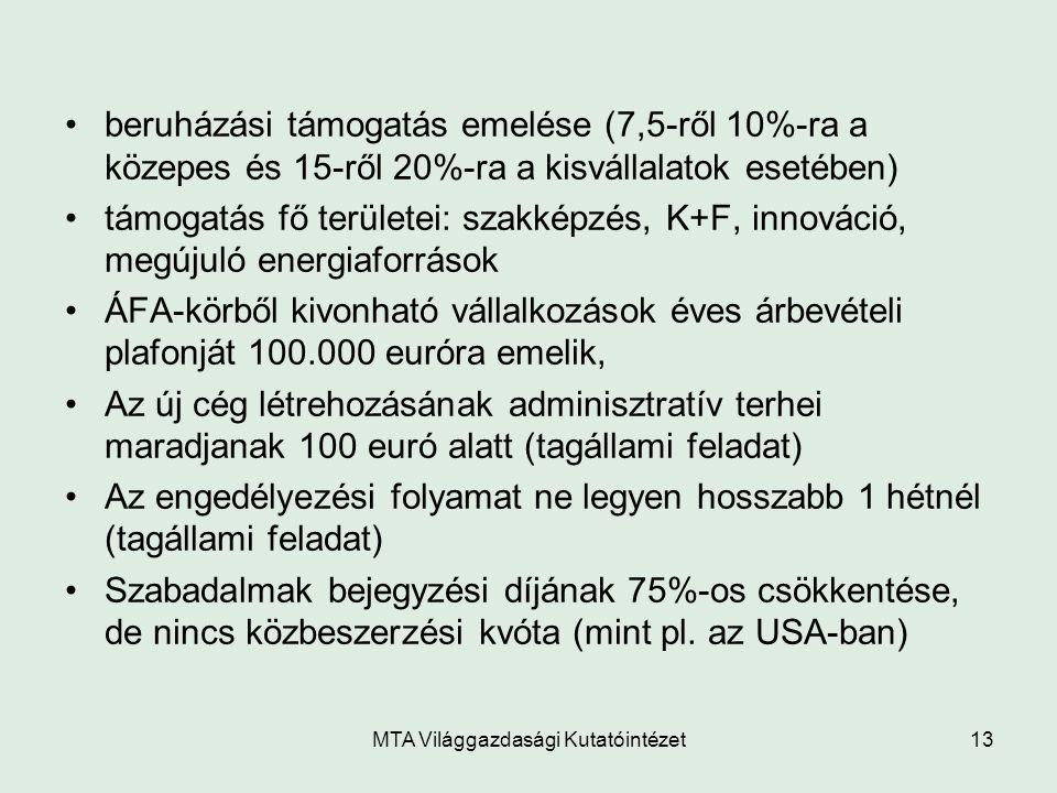 MTA Világgazdasági Kutatóintézet13 beruházási támogatás emelése (7,5-ről 10%-ra a közepes és 15-ről 20%-ra a kisvállalatok esetében) támogatás fő terü