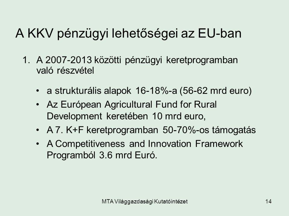 MTA Világgazdasági Kutatóintézet14 A KKV pénzügyi lehetőségei az EU-ban 1.A 2007-2013 közötti pénzügyi keretprogramban való részvétel a strukturális a