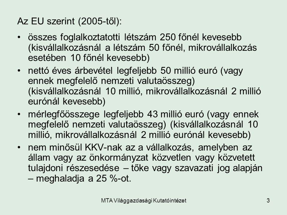 MTA Világgazdasági Kutatóintézet3 Az EU szerint (2005-től): összes foglalkoztatotti létszám 250 főnél kevesebb (kisvállalkozásnál a létszám 50 főnél,