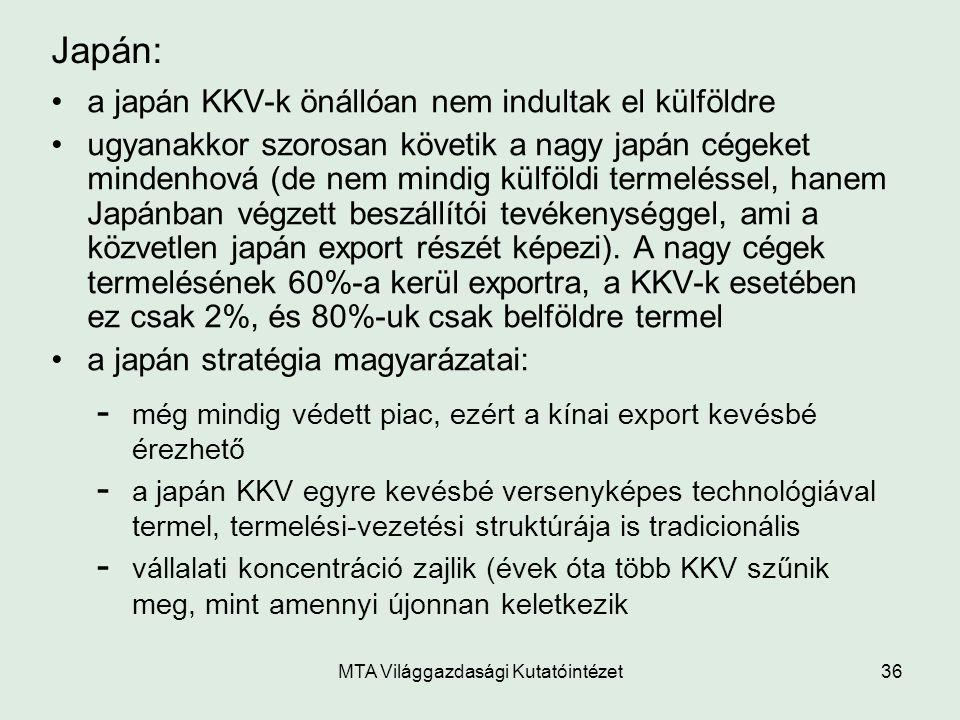 MTA Világgazdasági Kutatóintézet36 Japán: a japán KKV-k önállóan nem indultak el külföldre ugyanakkor szorosan követik a nagy japán cégeket mindenhová