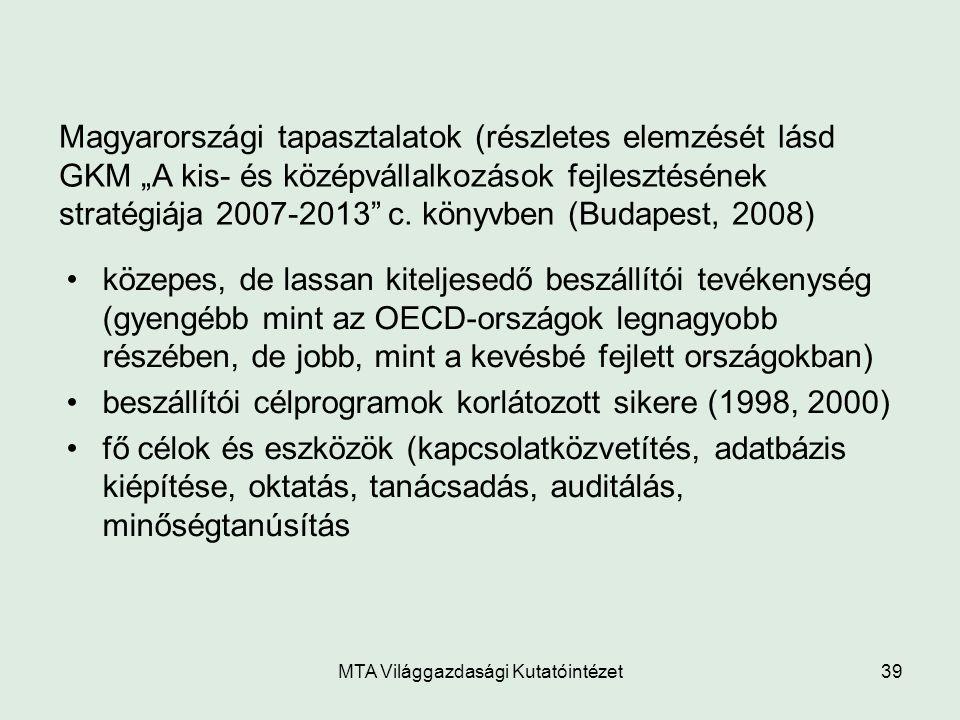 """MTA Világgazdasági Kutatóintézet39 Magyarországi tapasztalatok (részletes elemzését lásd GKM """"A kis- és középvállalkozások fejlesztésének stratégiája"""