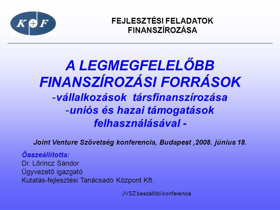FEJLESZTÉSI FELADATOK FINANSZÍROZÁSA A LEGMEGFELELŐBB FINANSZÍROZÁSI FORRÁSOK -vállalkozások társfinanszírozása -uniós és hazai támogatások felhasznál