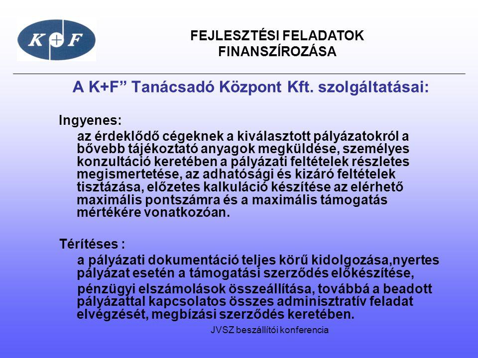 """FEJLESZTÉSI FELADATOK FINANSZÍROZÁSA A K+F"""" Tanácsadó Központ Kft. szolgáltatásai: Ingyenes: az érdeklődő cégeknek a kiválasztott pályázatokról a bőve"""