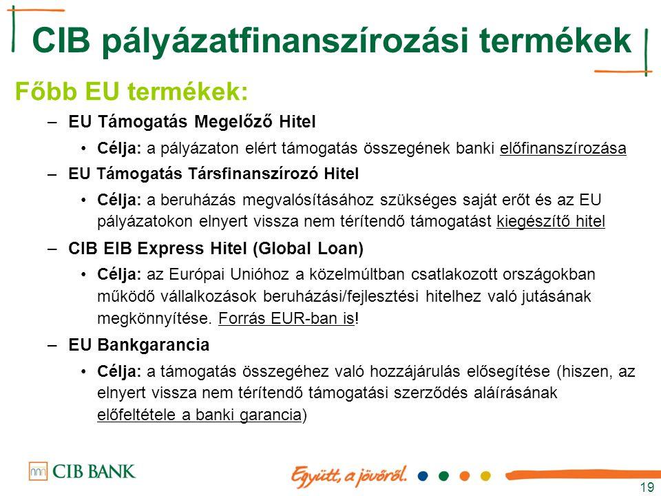 19 Főbb EU termékek: –EU Támogatás Megelőző Hitel Célja: a pályázaton elért támogatás összegének banki előfinanszírozása –EU Támogatás Társfinanszíroz