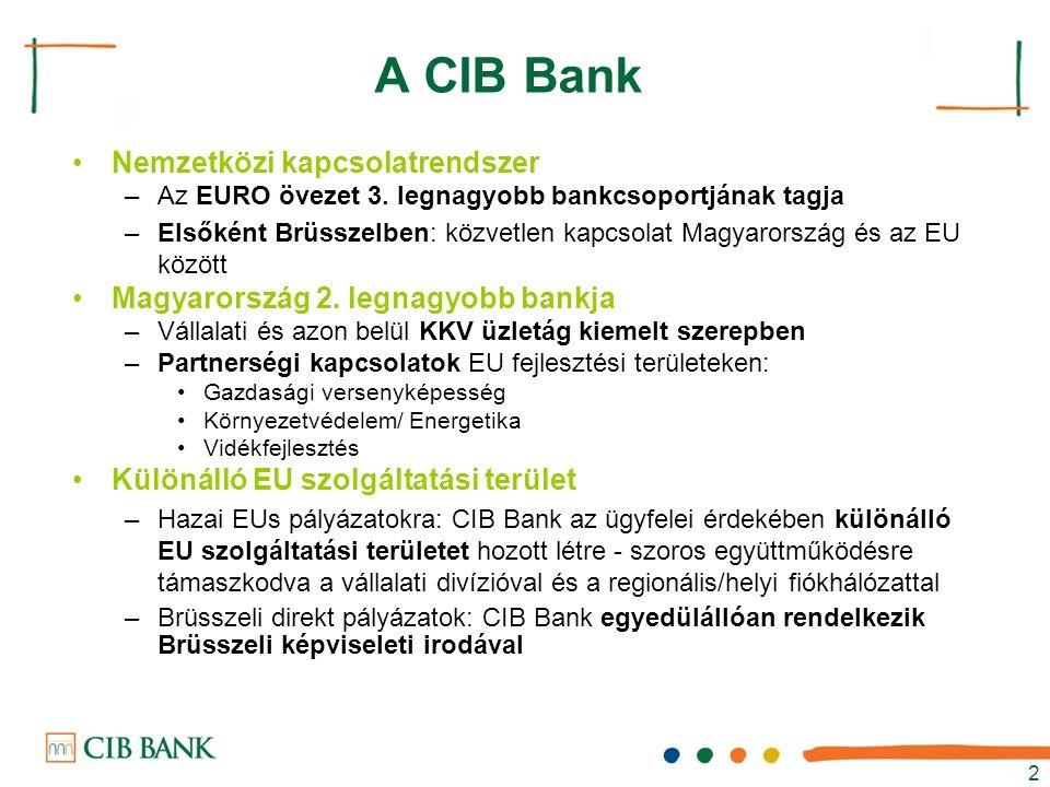 2 A CIB Bank Nemzetközi kapcsolatrendszer –Az EURO övezet 3. legnagyobb bankcsoportjának tagja –Elsőként Brüsszelben: közvetlen kapcsolat Magyarország