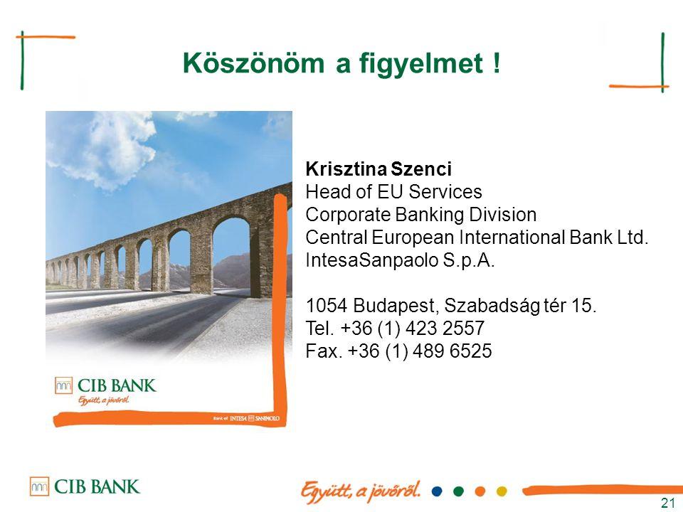 21 Köszönöm a figyelmet ! Krisztina Szenci Head of EU Services Corporate Banking Division Central European International Bank Ltd. IntesaSanpaolo S.p.