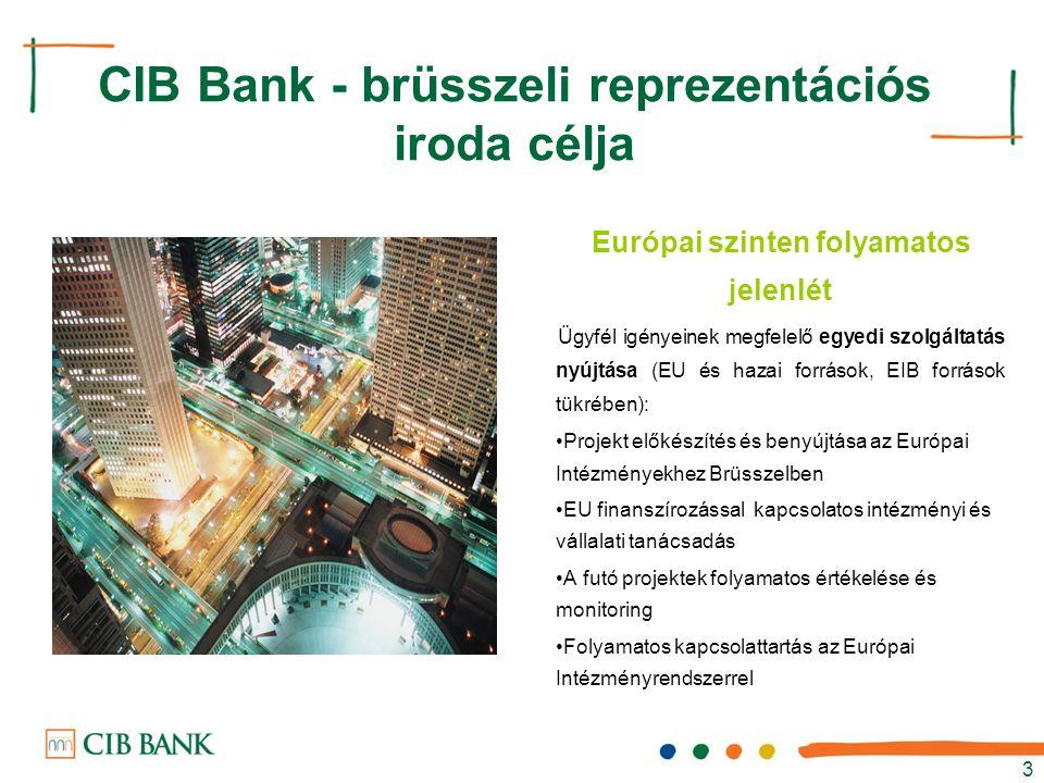 3 Európai szinten folyamatos jelenlét Ügyfél igényeinek megfelelő egyedi szolgáltatás nyújtása (EU és hazai források, EIB források tükrében): Projekt