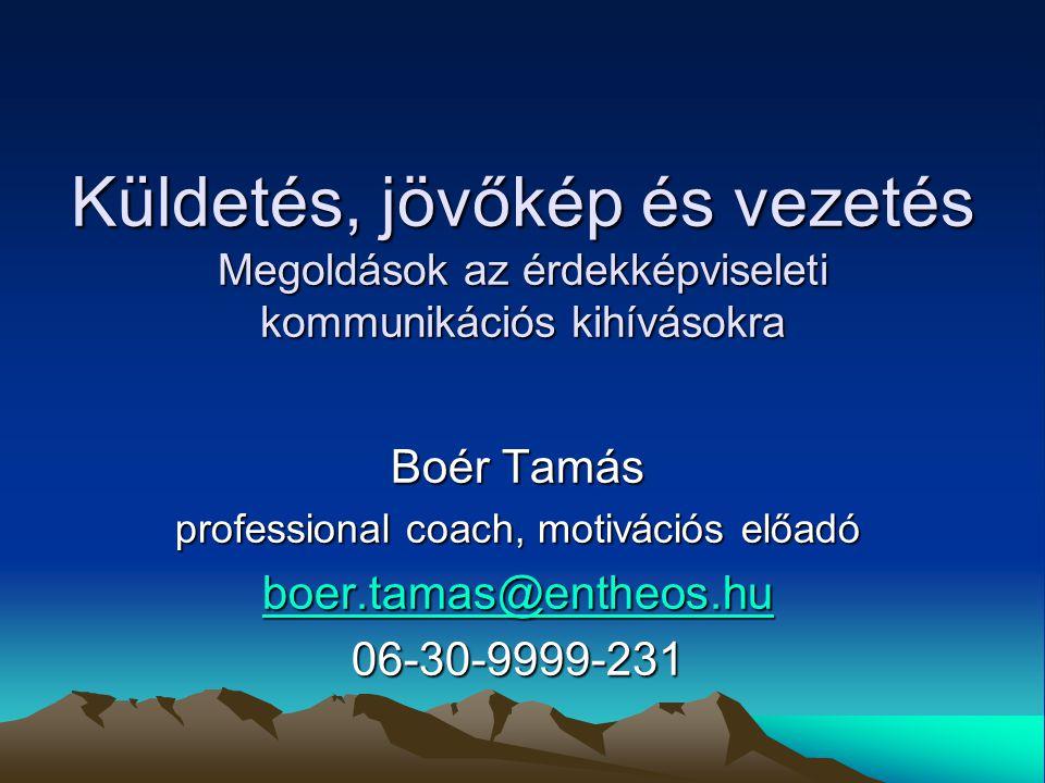 Boér Tamás professional coach, motivációs előadó boer.tamas@entheos.hu boer.tamas@entheos.hu06-30-9999-231 Küldetés, jövőkép és vezetés Megoldások az