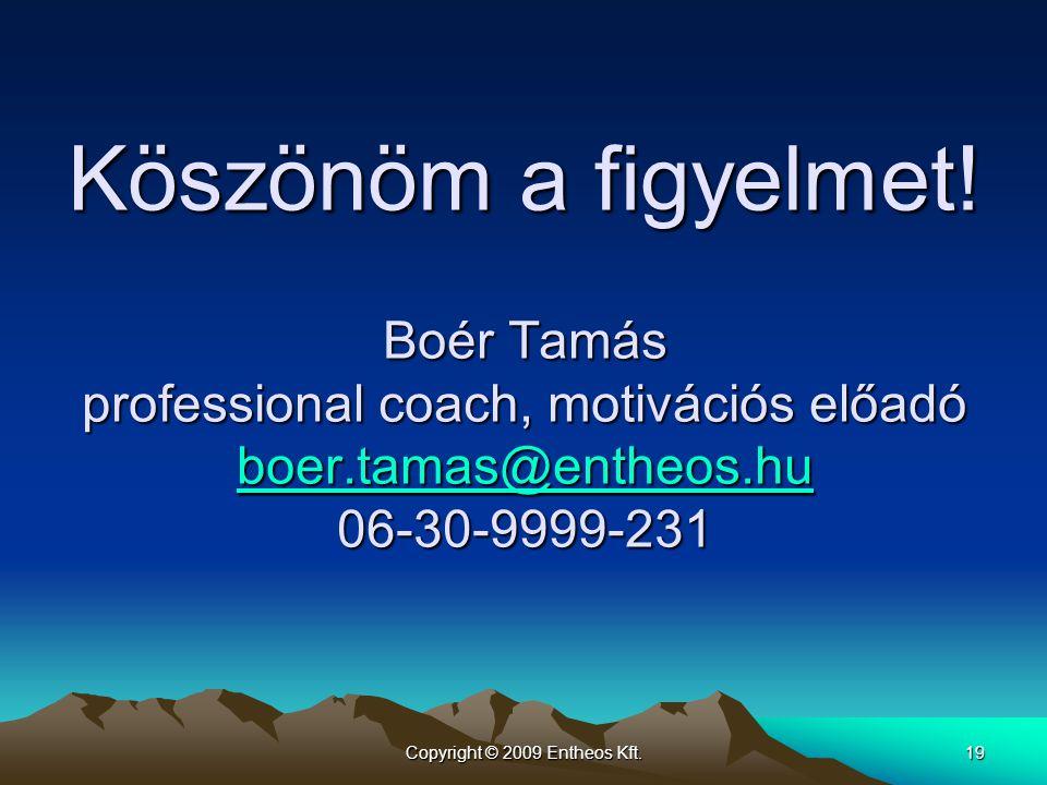 Copyright © 2009 Entheos Kft.19 Köszönöm a figyelmet! Boér Tamás professional coach, motivációs előadó boer.tamas@entheos.hu 06-30-9999-231 boer.tamas