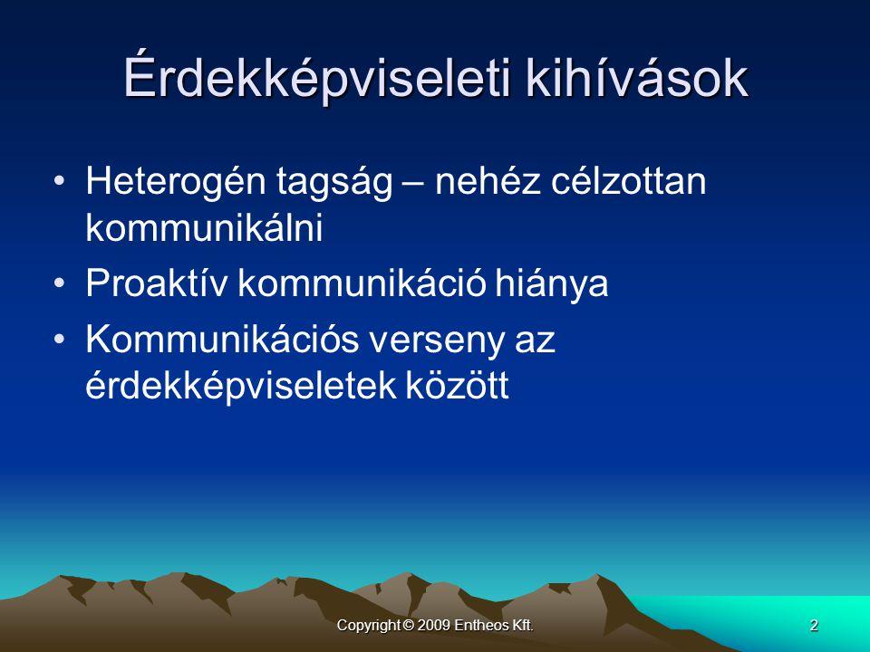 Copyright © 2009 Entheos Kft.2 Érdekképviseleti kihívások Heterogén tagság – nehéz célzottan kommunikálni Proaktív kommunikáció hiánya Kommunikációs v