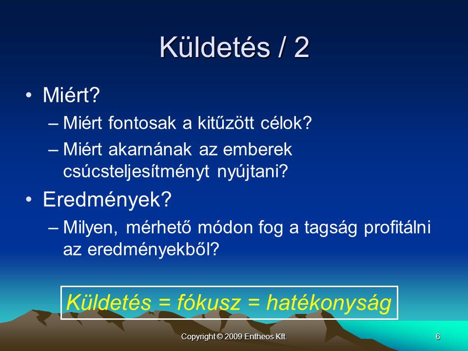 Copyright © 2009 Entheos Kft.6 Küldetés / 2 Miért? –Miért fontosak a kitűzött célok? –Miért akarnának az emberek csúcsteljesítményt nyújtani? Eredmény