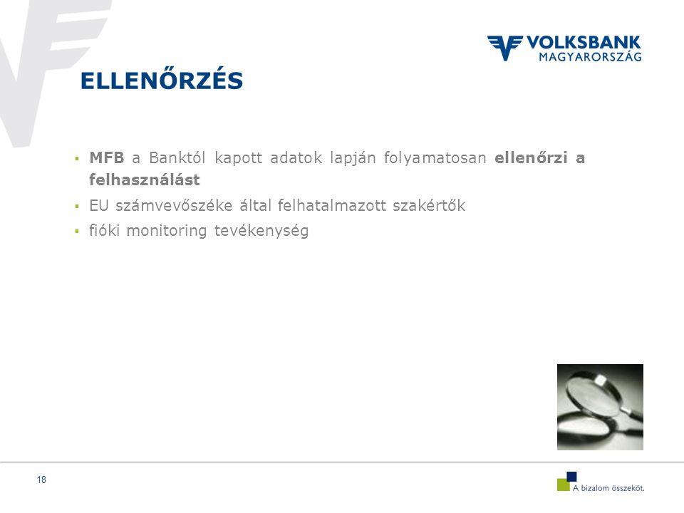 18 ELLENŐRZÉS  MFB a Banktól kapott adatok lapján folyamatosan ellenőrzi a felhasználást  EU számvevőszéke által felhatalmazott szakértők  fióki monitoring tevékenység